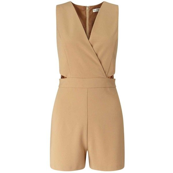 Miss Selfridge Petites Camel Cut Out Playsuit ($35) ❤ liked on Polyvore featuring jumpsuits, rompers, camel, petite, playsuit romper, miss selfridge, cutout romper and cut out romper