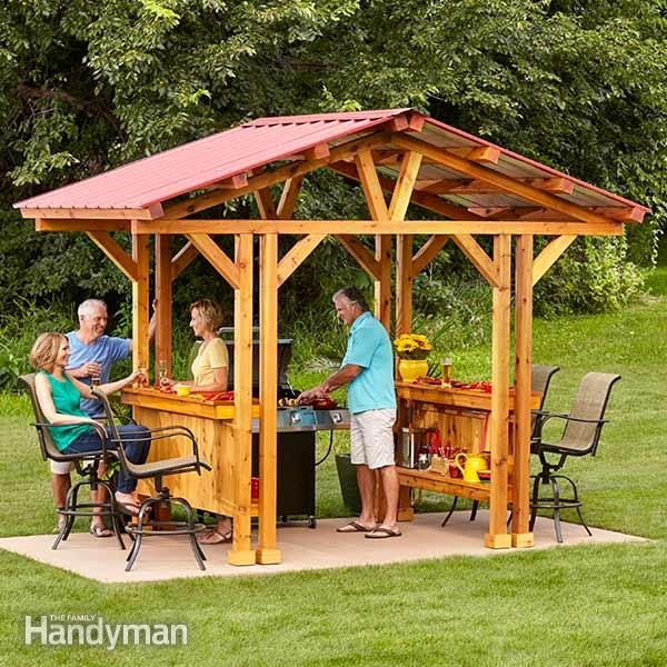 "you can entertain and feed your guests without ever having to leave your shish kebabs unattended! if you're looking for outdoor bar ideas or diy gazebo plans, this ""grillzebo"" is perfect. it's big enough to accommodate most standard grills but small enough that it might just fit on your existing patio. customize your own grillzebo with lighting, grill accessory storage, wine glass racks or built-in coolers."