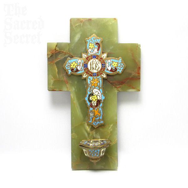 十字架型 アンティーク 聖水盤 モザイクエナメルなどキリスト教の雑貨道具聖品を輸入通信販売