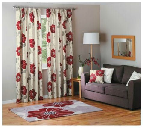 Jessica Pencil Pleat Curtains   Cream And Red.