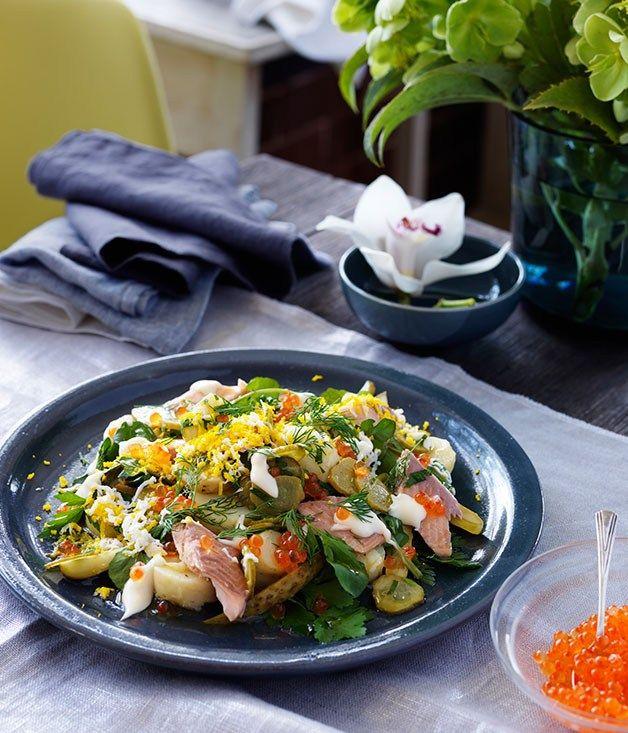 Potato salad with smoked trout recipe   Martin Boetz recipe - Gourmet Traveller