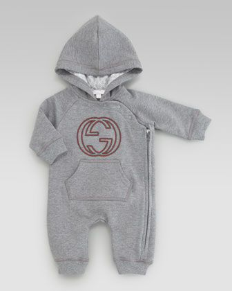 Hooded Jersey Playsuit, Gray by Gucci at Neiman Marcus.