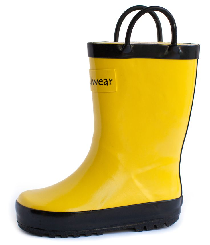 Children's Rubber Rain Boots, Yellow & Black | Oakiwear - Rain Gear, Kids rain suits, kids waders, kids rain gear, and kids rain coats