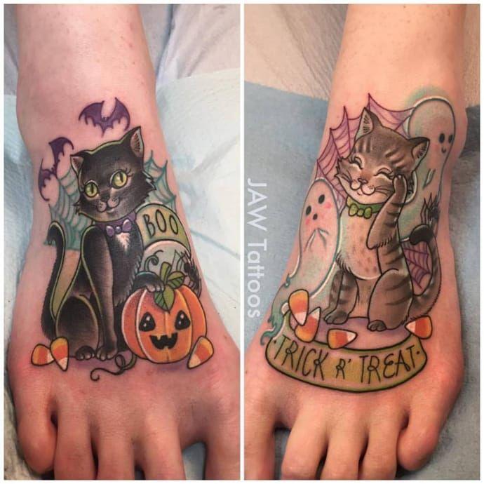 Halloween cat tattoo #JessicaAnnWhite