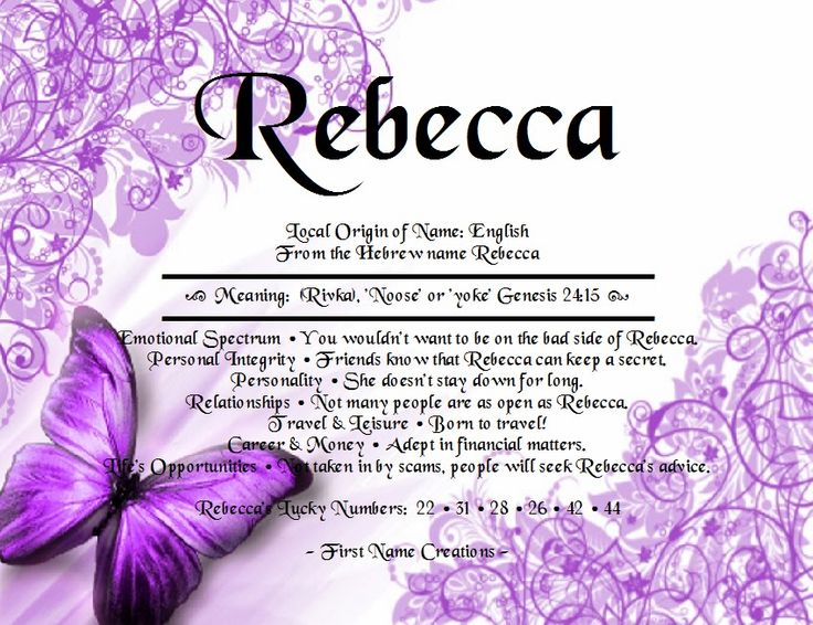 First Name Creations: Search results for rebecca