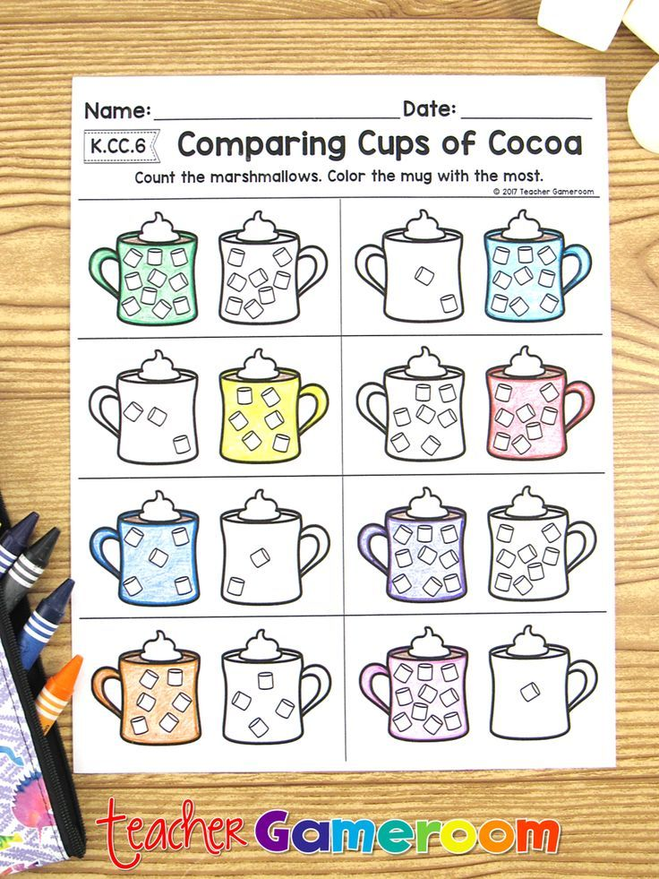 Comparing Cups Of Cocoa Math Worksheets Comparing Numbers K Cc 6 Math Worksheets Christmas Math Worksheets Christmas Math Activities Kindergarten