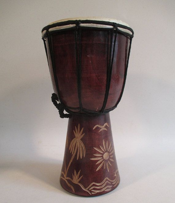 Hand Carved Bongo Vintage Percussion Musical Instrument Goat