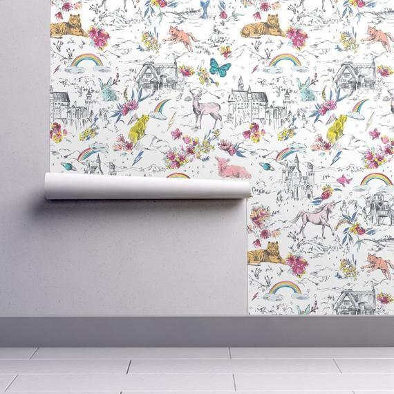 Unicorn Wallpaper Little And Fierce By Pattern State White Etsy Unicorn Wallpaper Wallpaper Pattern Wallpaper