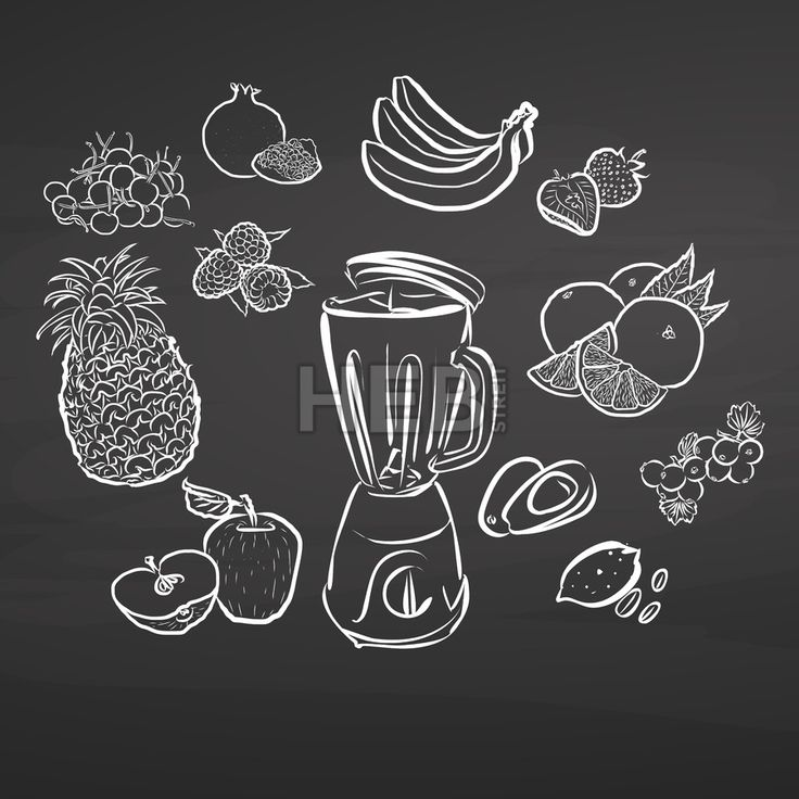 Hand-drawn juicy fruits on chalkboard by #Hebstreit