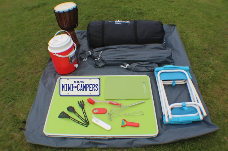 Camping kit, tent, water container, bongo, cooking utensils