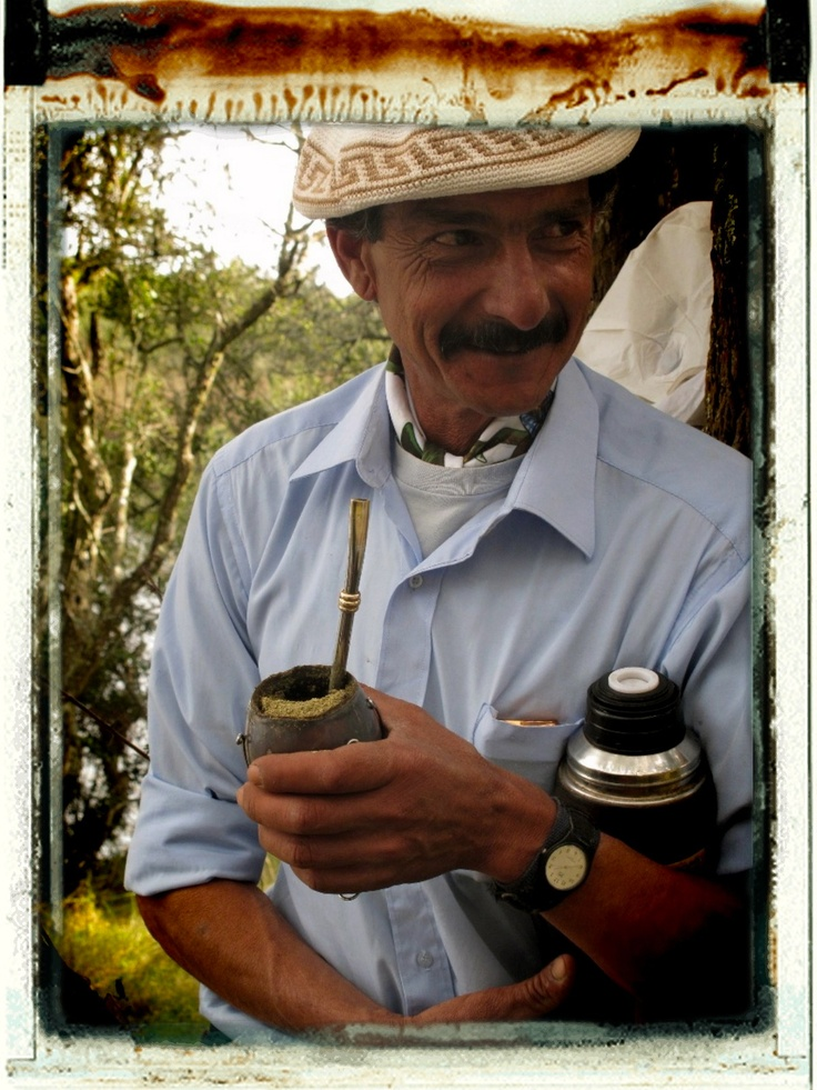 Uruguayan gaucho with his mate. For most of them the thermos is part of their body.