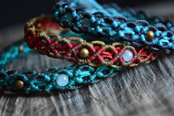 Bohemian macrame bracelet with aquamarine and brass beads
