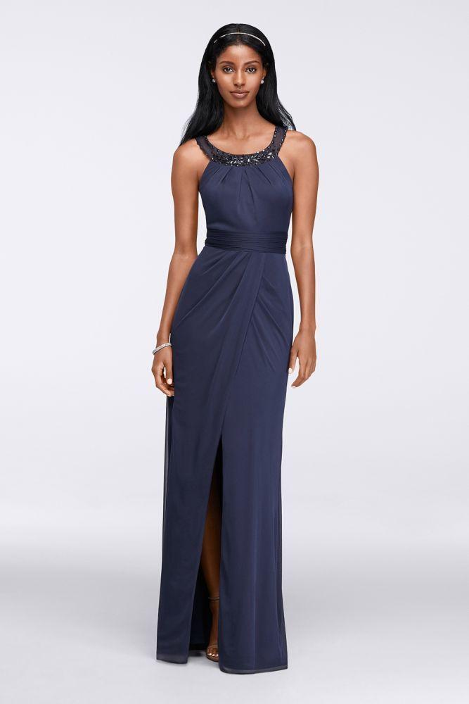 Beaded Illusion Collar Long Dress - Navy (Blue), 12
