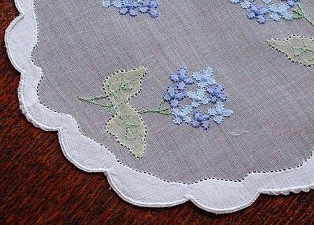 Blue flower embroidery, shadow work. Em's Heart Antique Linens -Vintage Organdy Cocktail Napkins