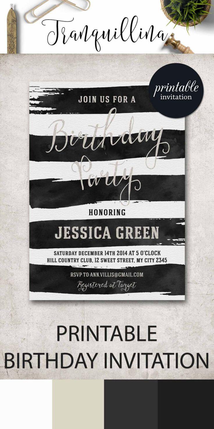 Birthday Invitation Printable, Watercolor Stripes Black White Birthday Invite, Adult Birthday Party Invite - pinned by pin4etsy.com