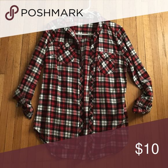 Ragstock Red plaid shirt Thin plaid shirt with detachable gray hood ragstock Tops Tees - Long Sleeve