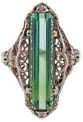 Antique green tourmaline filigree ring, circa 1880. Via Diamonds in the Library. Via Diamonds in the Library.