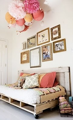 Tissue balls & lanterns....check pictures....check pallet bed for reading....check