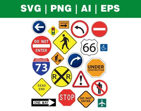Road Signs Png Svg Dxf Eps Ai Vector Pack Digital Etsy Road Signs Svg Signs