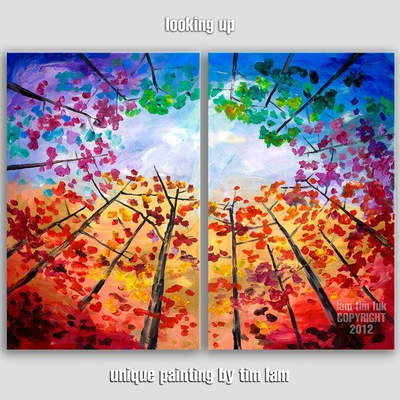 Tree Canvas Painting Ideas  | Original impasto modern tree art 48 MULTI ... | Canvas & Acrylic Ideas