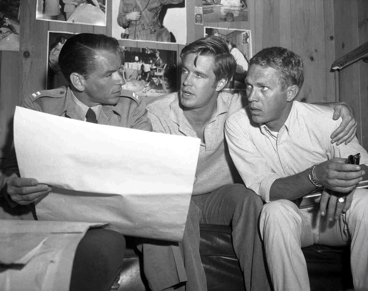 Frank Sinatra, George Peppard + Steve McQueen: that's a whole lotta badass in this picture!!