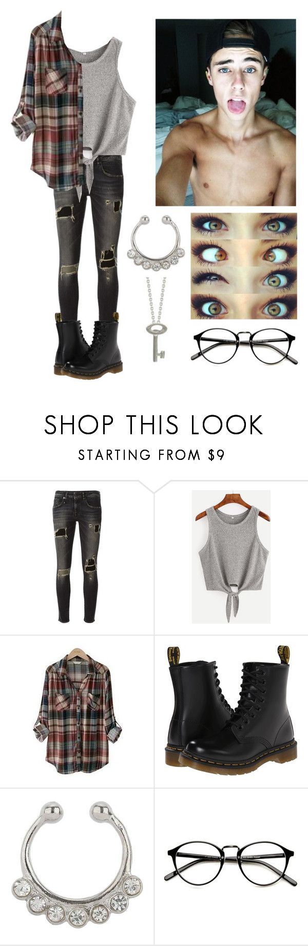 """""""His girl"""" by xxkrysxx ❤ liked on Polyvore featuring R13, PEPER, Dr. Martens, Miss Selfridge, Roberto Coin, Fall, Hipster and brown"""