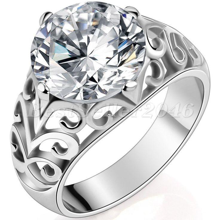 Damen Ehering Trauring Verlobungsring - Edelstahl, weißer Zirkonia 6,5 Karat