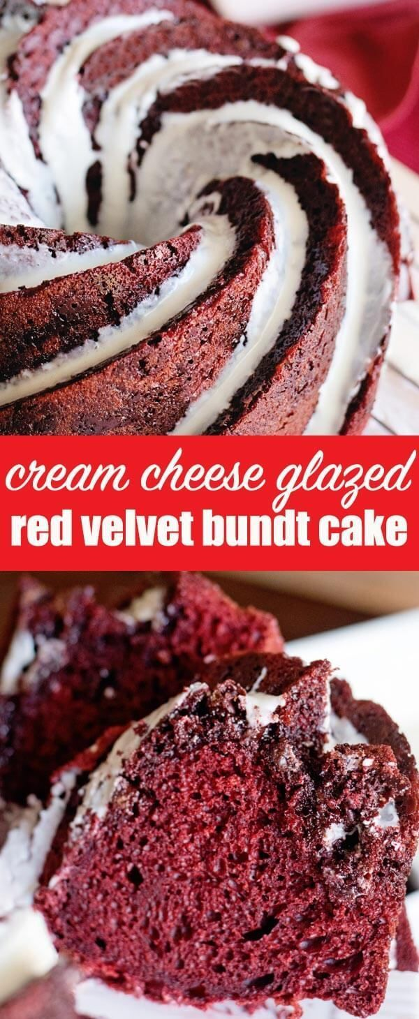 Looking for an easy dessert that will make a grand impression? Try this semi-homemade red velvet bundt cake with a cream cheese glaze. There are chocolate chips in every bite! #redvelvet #christmas #valentinesday #cake
