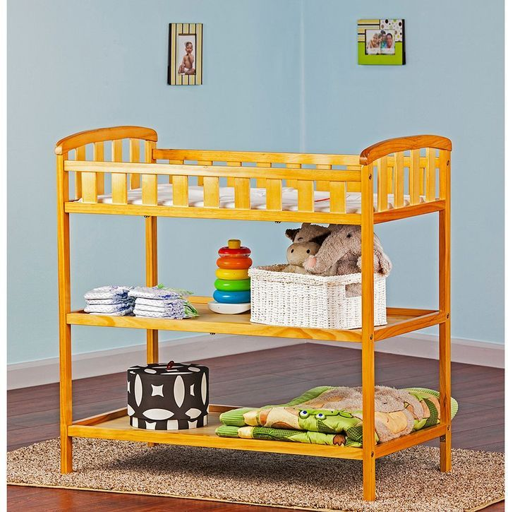 Dream On Me Emily Changing Table: 2 Shelves Traditional Design In A Solid  Pine Wood Construction Non Toxic Finish Includes Changing Pad Features A  Safety ...