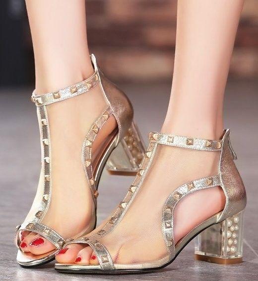stiletto rivets lace high heel sandals
