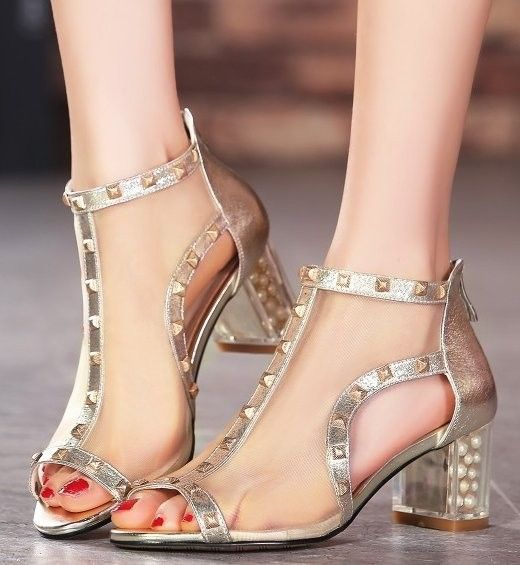 stiletto rivets lace high heel sandals