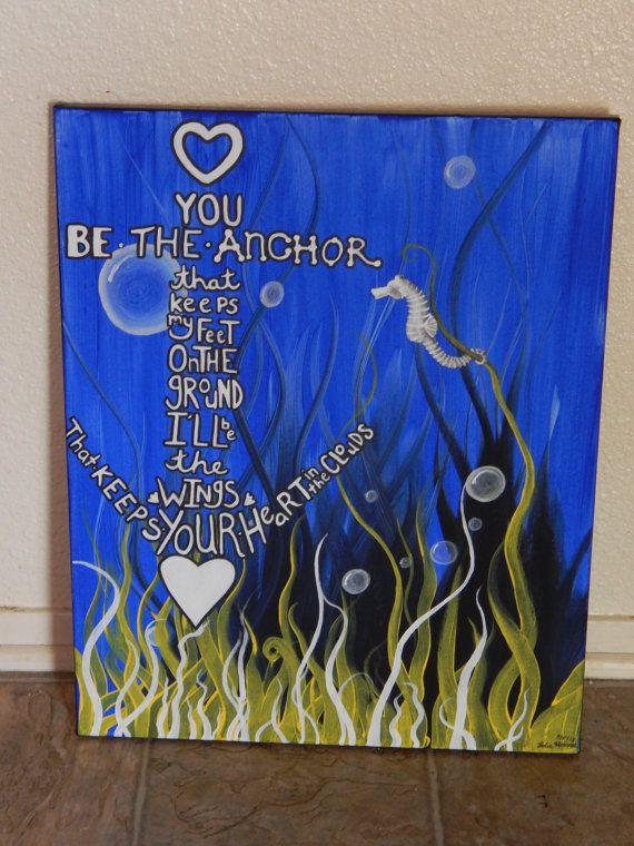 SALE Half price Anchor Quote with a Seahorse. by LalapopArtShop