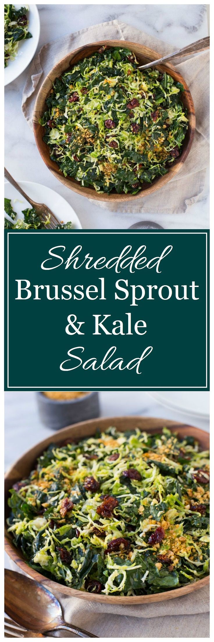 Shredded Brussel Sprout & Kale Salad with Maple Pecan Parmesan- perfect for Thanksgiving or to make for healthy lunches during the week! (vegan, paleo + gluten-free)