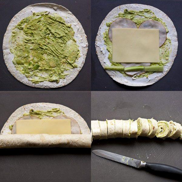 Tortilla Schnecken mit Pute, Käse, Avocado und Gurke. Mal etwas anderes zum Abendbrot für die Kinder.