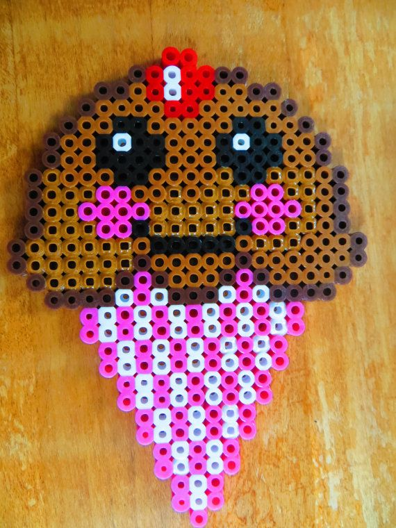 Smiley Face Chocolate Ice Cream Cone Perler Beads By