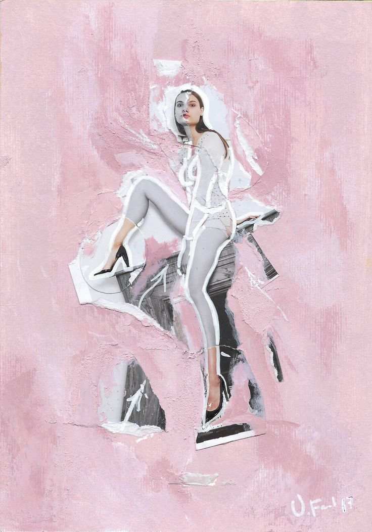 Pinky...Serie Fashion Girl, Acrílico, Fotografía, pastel sobre papel (Pittura).