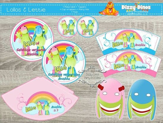 Lollos en Lettie diy printable Plate Labels, Toppers, Cup wrappers, party hat and masks