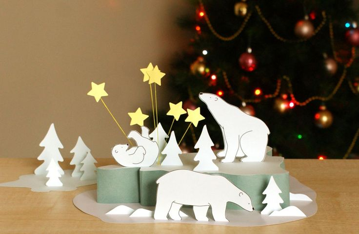 Polar bear paper scene diy