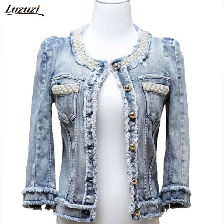 Denim Jacket Pearls Beading Jeans Jacket Women Short Coat Spring Autumn Outerwear