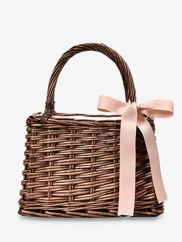 <b>Hand Woven Straw</b> Bow Beach Handbag * fashion bags, cute bags ...