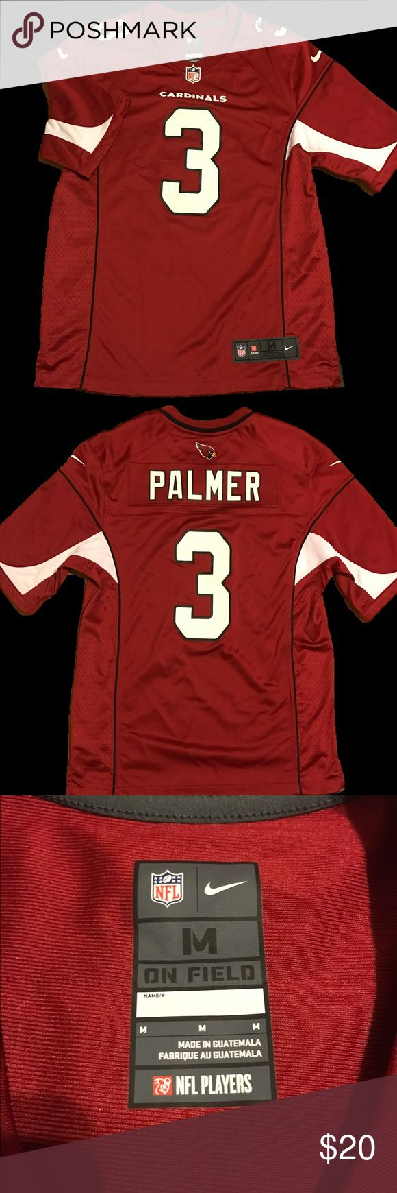"Arizona Cardinals Nike Jersey C. Palmer #3 -M Arizona Cardinals Nike Jersey C. Palmer  NWOT, Never worn Nike NFL Arizona Cardinals quarterback Carson Palmer #3 jersey on field jersey. This is not a stitched jersey.  Sz M Material 100% Polyester   Measurements (approx) Chest 42"" Shoulders 19 1/2"" Sleeves 13"" Nike Shirts Tees - Short Sleeve"