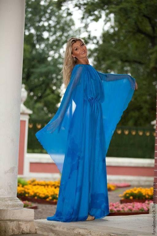 """Купить Платье длинное шифоновое """"Круизное"""" - голубой, однотонный, платье длинное, платье из шифона"""