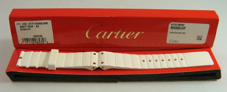 Cartier Santos 100 White 20 x 20 mm Rubber Strap MX005JXF NEW in BOX #cartier #santos #strap
