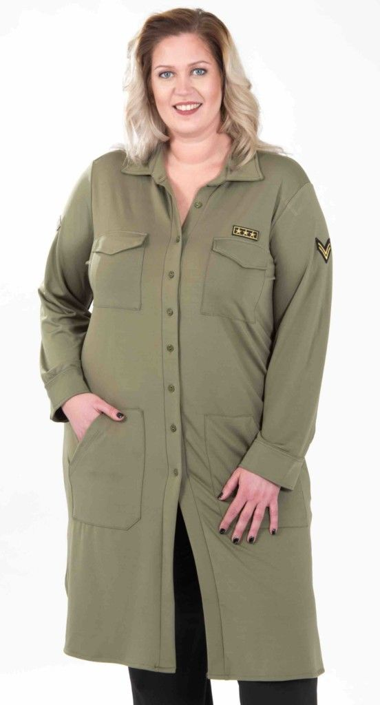 Gets fashion, lange blouse, army, grote maten, voorjaar 2017
