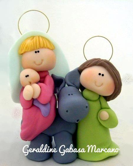 José, María y el niño Jesús .-: