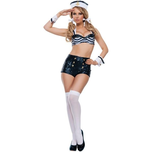 Womens Seductive Sailor Costume featuring polyvore, fashion, clothing, costumes, halloween costumes, sexy costumes, sexy women costumes, sexy sailor halloween costume, sexy sailor costume and sequin costume