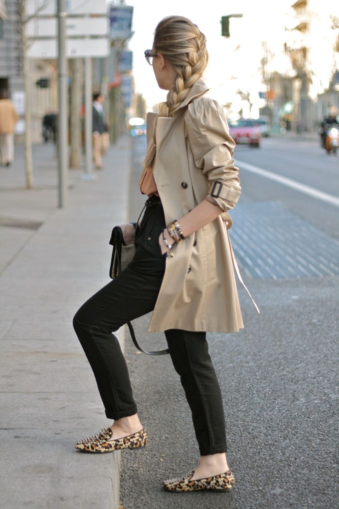classic trench, french braid, black skinnies & patterned flats... one of my usual go-to looks