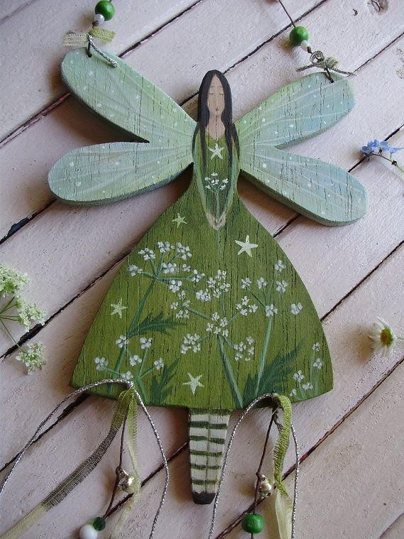 Cow Parsley Wooden Fairy is .... handmade, hand painted and unique