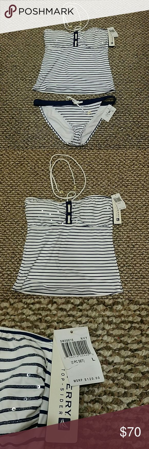 Sperry Top - sider two piece tankini navy stripe L Nautical swimsuit. New with tags. Retail $120. Two piece set. Tankini. Bikini. GORGEOUS! Sperry Top-Sider Swim