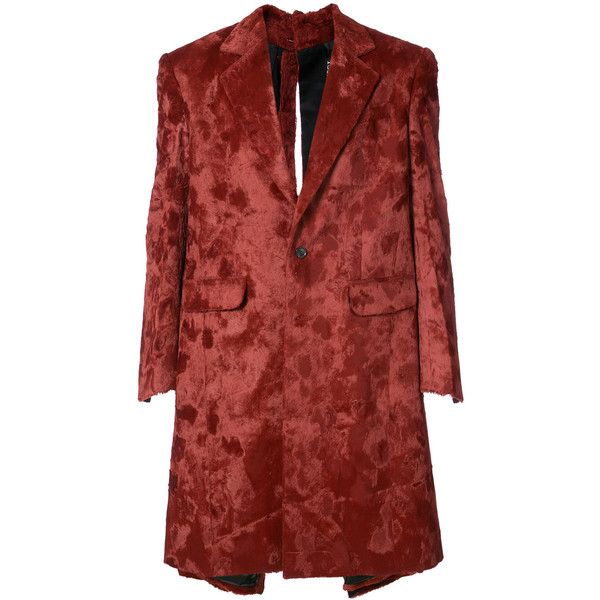 Y / Project single breasted coat (€1.920) ❤ liked on Polyvore featuring men's fashion, men's clothing, men's outerwear, men's coats, red, mens single breasted pea coat, mens velvet coat and mens red coat